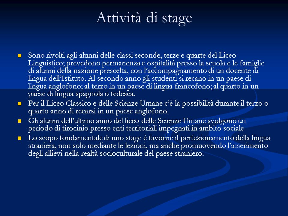 Attività di stage
