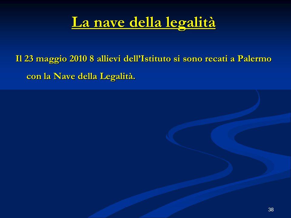La nave della legalità Il 23 maggio 2010 8 allievi dell'Istituto si sono recati a Palermo con la Nave della Legalità.