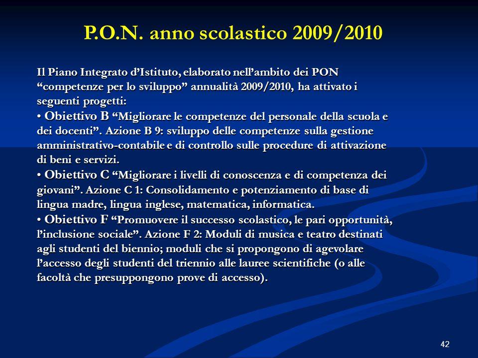 P.O.N. anno scolastico 2009/2010