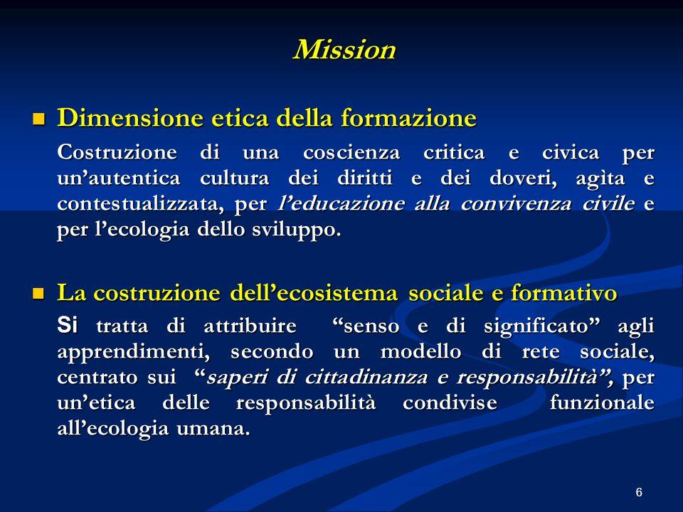 Mission Dimensione etica della formazione