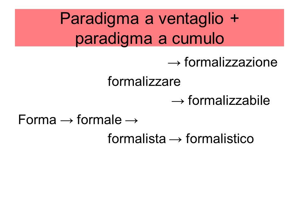 Paradigma a ventaglio + paradigma a cumulo