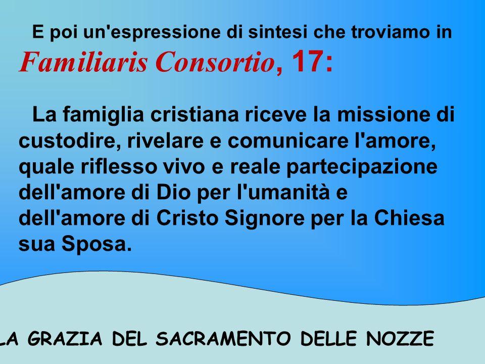 E poi un espressione di sintesi che troviamo in Familiaris Consortio, 17: