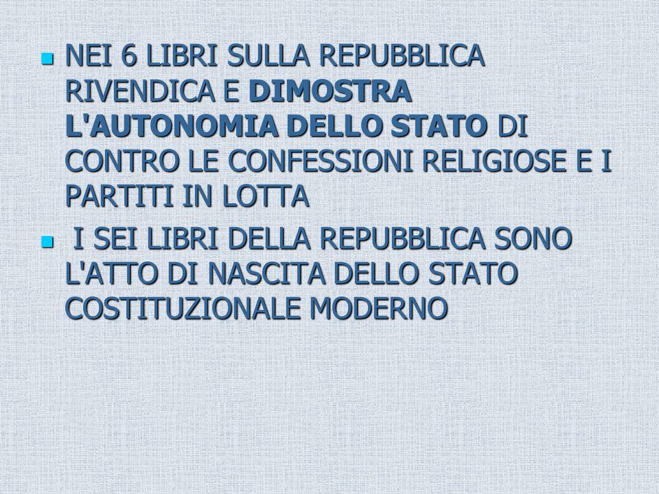 NEI 6 LIBRI SULLA REPUBBLICA RIVENDICA E DIMOSTRA L AUTONOMIA DELLO STATO DI CONTRO LE CONFESSIONI RELIGIOSE E I PARTITI IN LOTTA