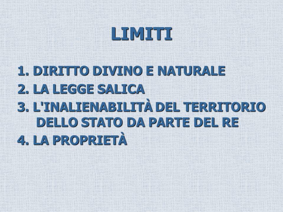 LIMITI 1. DIRITTO DIVINO E NATURALE 2. LA LEGGE SALICA