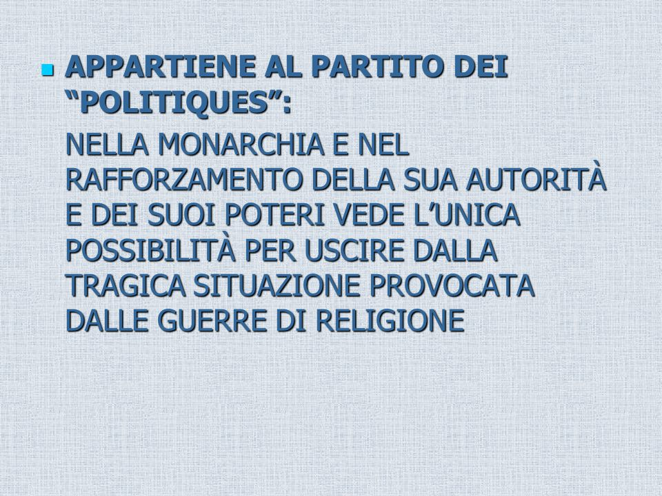 APPARTIENE AL PARTITO DEI POLITIQUES :