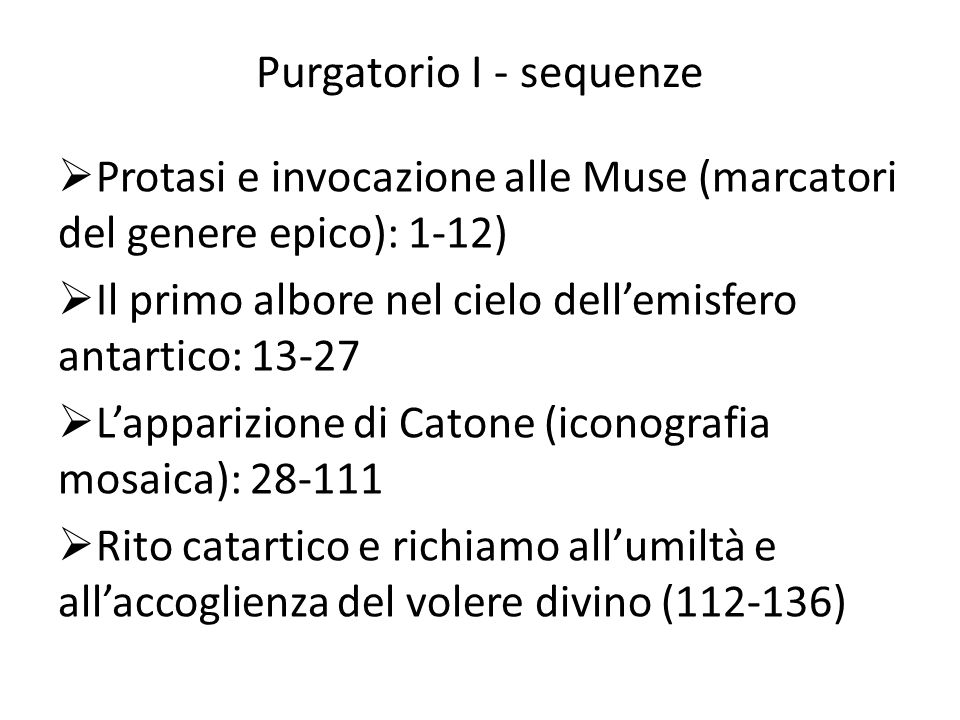 Purgatorio I - sequenze
