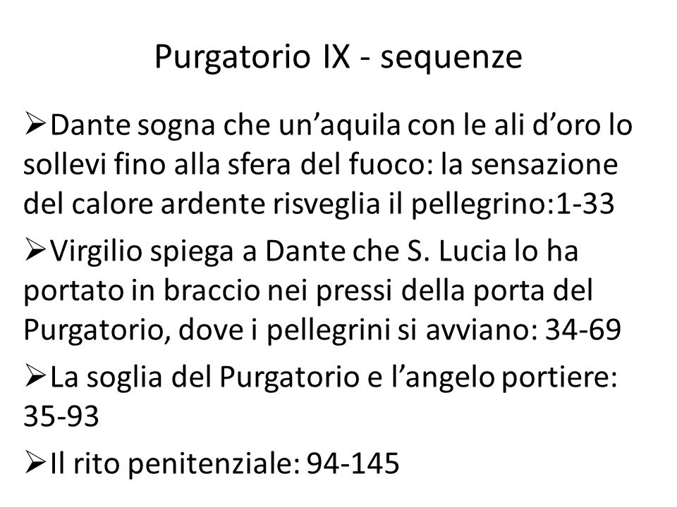 Purgatorio IX - sequenze