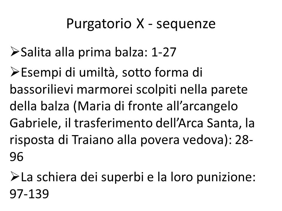 Purgatorio X - sequenze