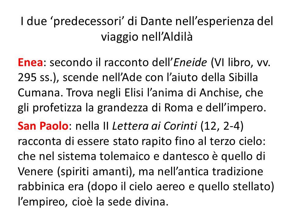 I due 'predecessori' di Dante nell'esperienza del viaggio nell'Aldilà