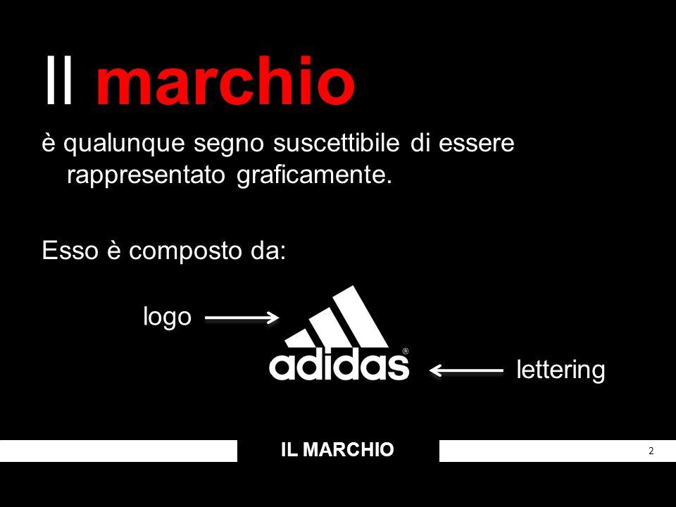 Il marchio è qualunque segno suscettibile di essere rappresentato graficamente. Esso è composto da: