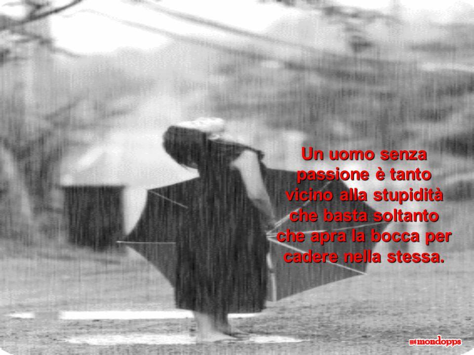 Un uomo senza passione è tanto vicino alla stupidità che basta soltanto che apra la bocca per cadere nella stessa.