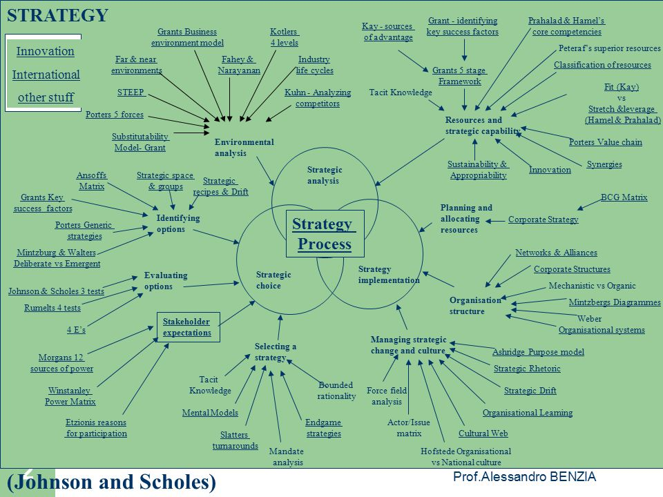 (Johnson and Scholes) STRATEGY Strategy Process Innovation