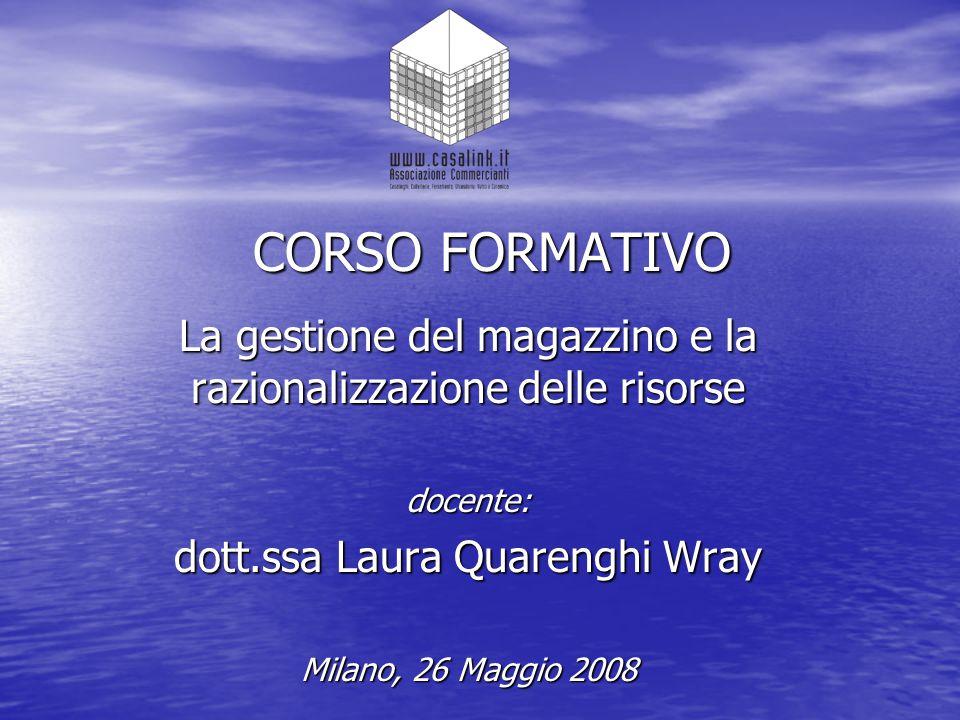 CORSO FORMATIVO La gestione del magazzino e la razionalizzazione delle risorse. docente: dott.ssa Laura Quarenghi Wray.