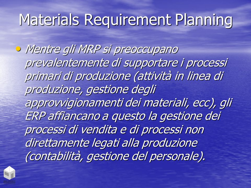 Materials Requirement Planning