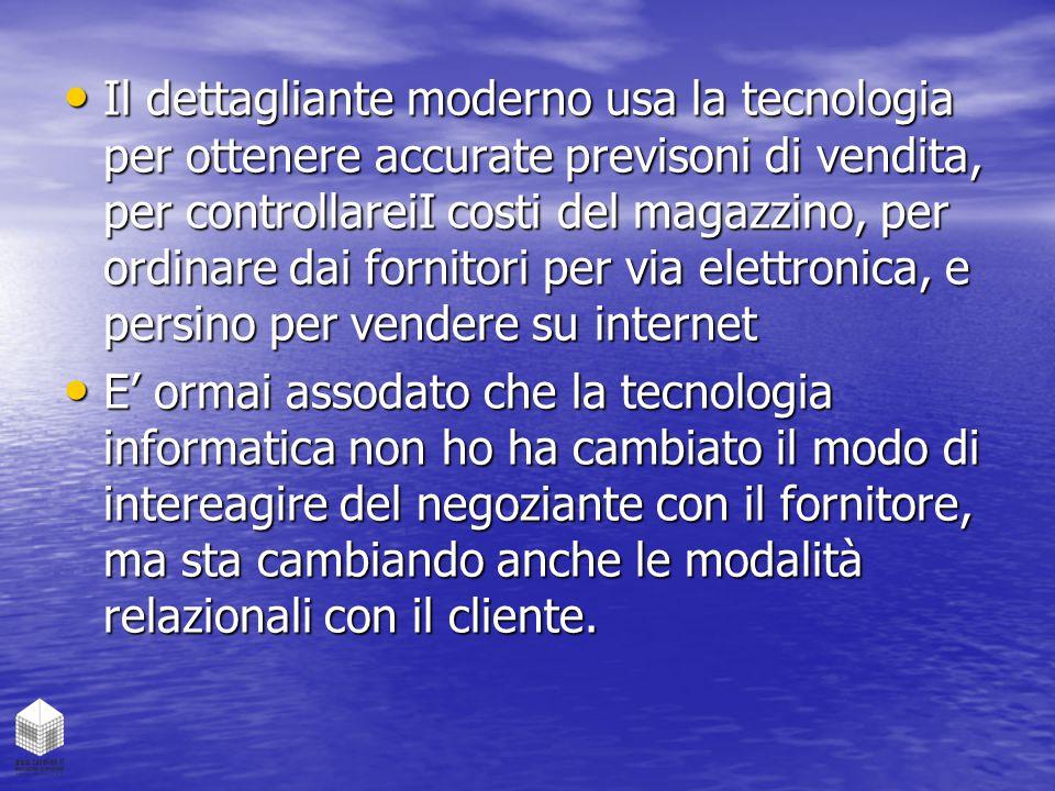 Il dettagliante moderno usa la tecnologia per ottenere accurate previsoni di vendita, per controllareiI costi del magazzino, per ordinare dai fornitori per via elettronica, e persino per vendere su internet