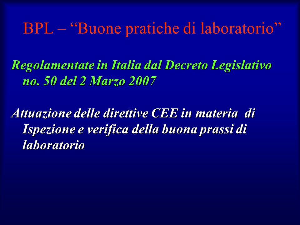 BPL – Buone pratiche di laboratorio