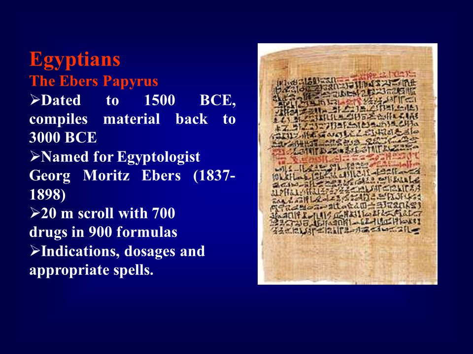 Egyptians The Ebers Papyrus