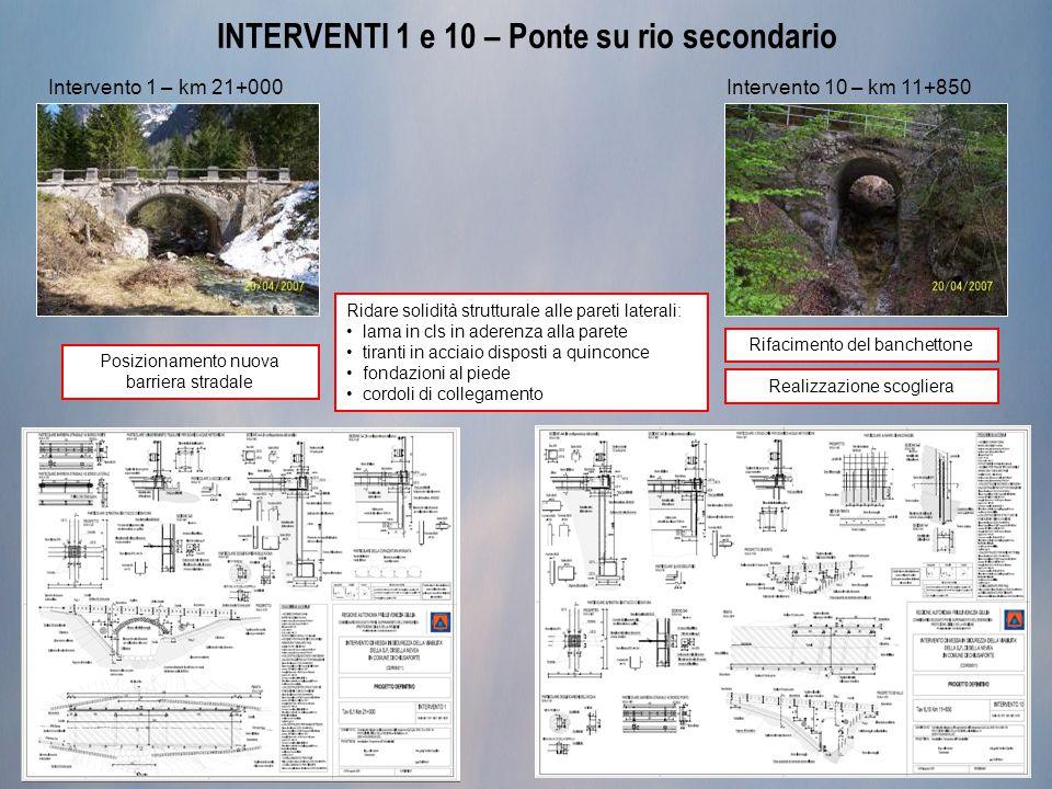 INTERVENTI 1 e 10 – Ponte su rio secondario