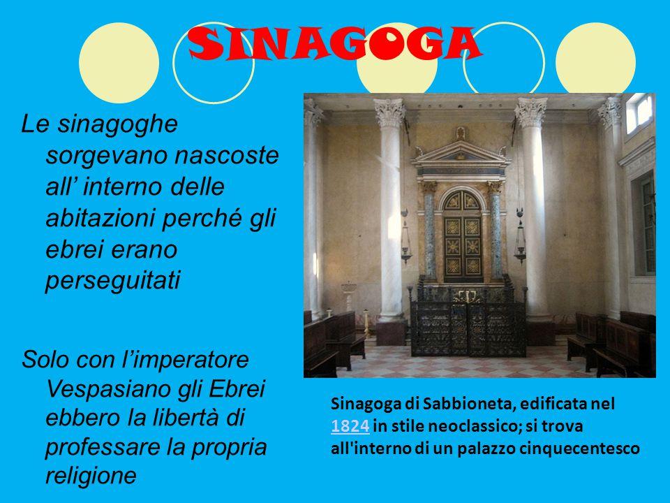 SINAGOGA Le sinagoghe sorgevano nascoste all' interno delle abitazioni perché gli ebrei erano perseguitati.