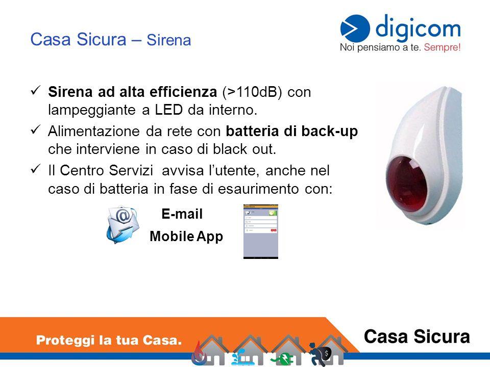 Casa Sicura – Sirena Sirena ad alta efficienza (>110dB) con lampeggiante a LED da interno.