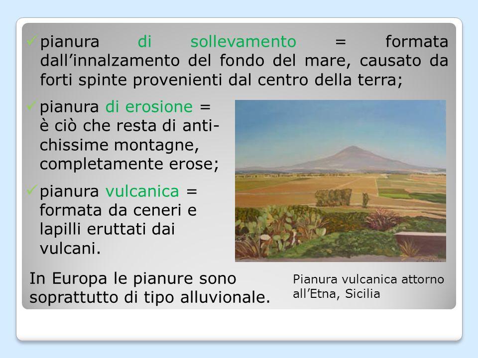 In Europa le pianure sono soprattutto di tipo alluvionale.