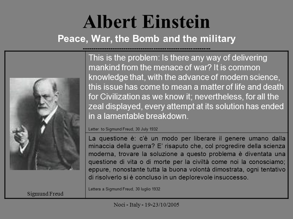 Albert Einstein Peace, War, the Bomb and the military -----------------------------------------------------------