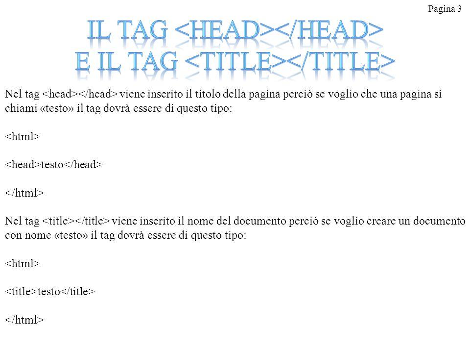Il tag <head></head> e il tag <title></title>