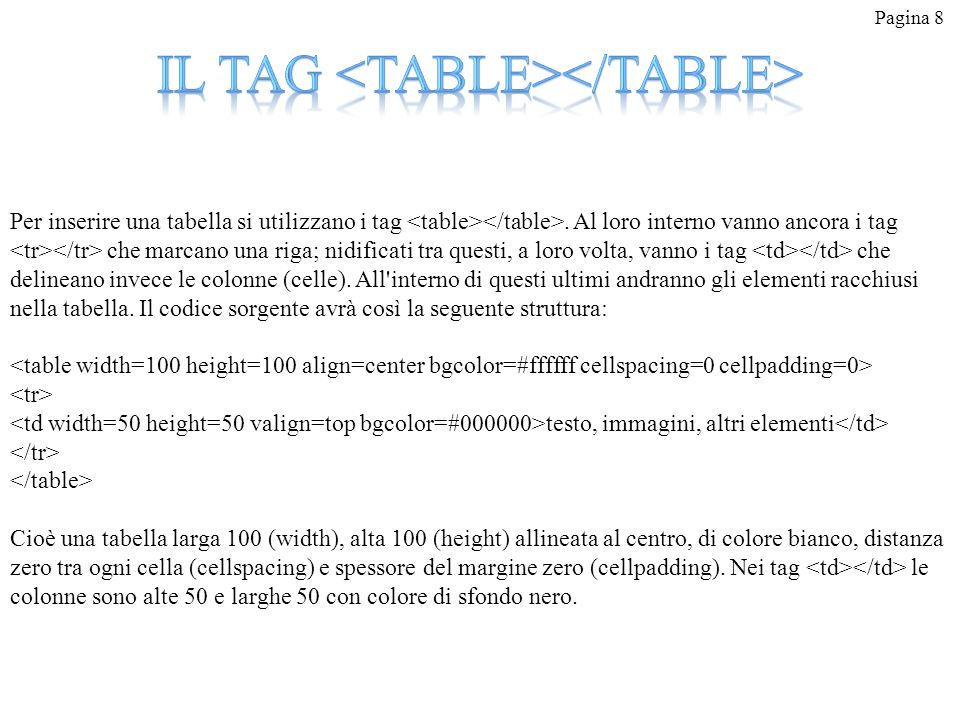 Il tag <table></table>