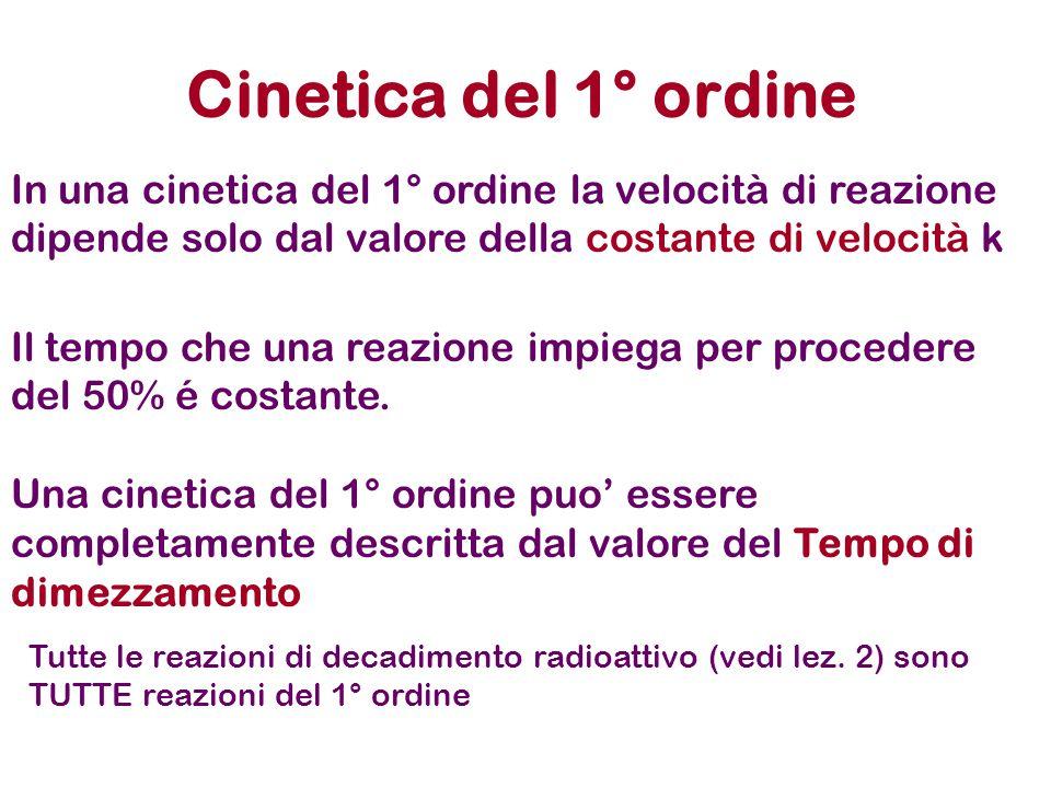 Cinetica del 1° ordine In una cinetica del 1° ordine la velocità di reazione dipende solo dal valore della costante di velocità k.