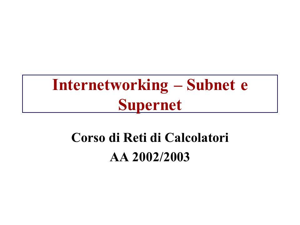 Internetworking – Subnet e Supernet