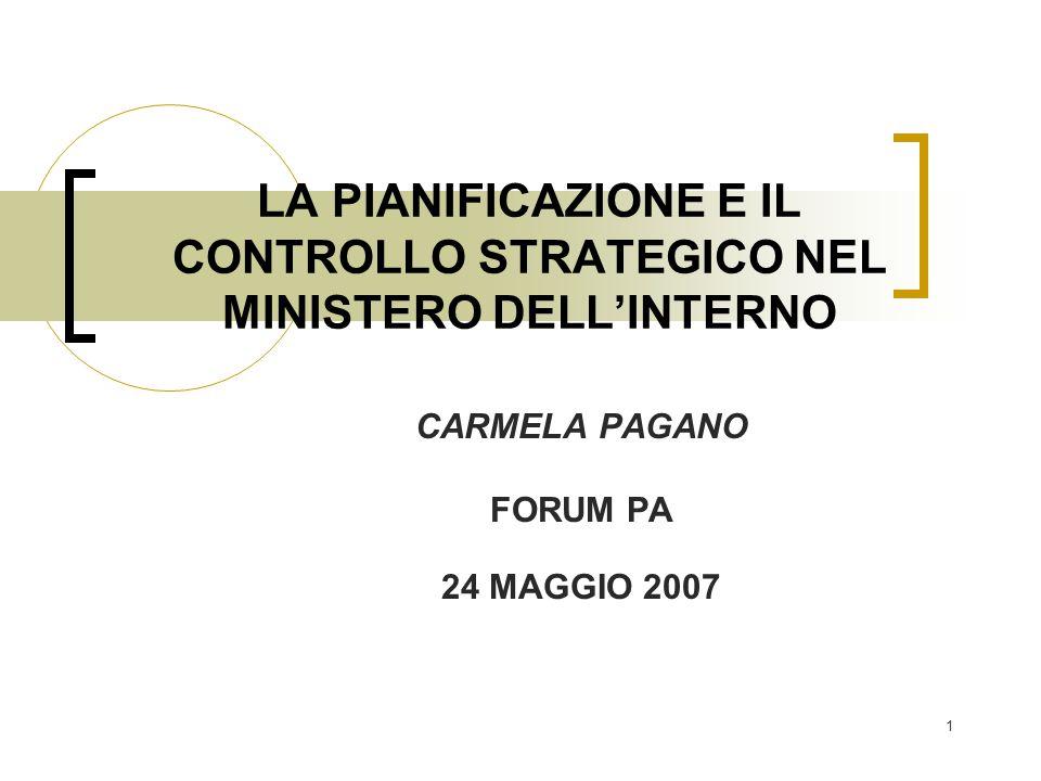 LA PIANIFICAZIONE E IL CONTROLLO STRATEGICO NEL MINISTERO DELL'INTERNO
