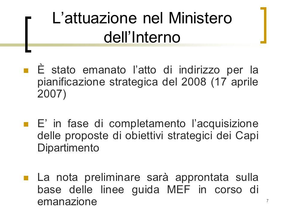 L'attuazione nel Ministero dell'Interno