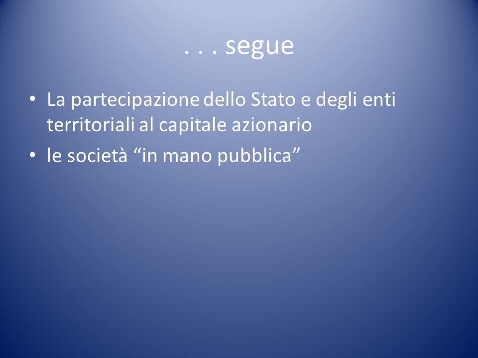 segue La partecipazione dello Stato e degli enti territoriali al capitale azionario.