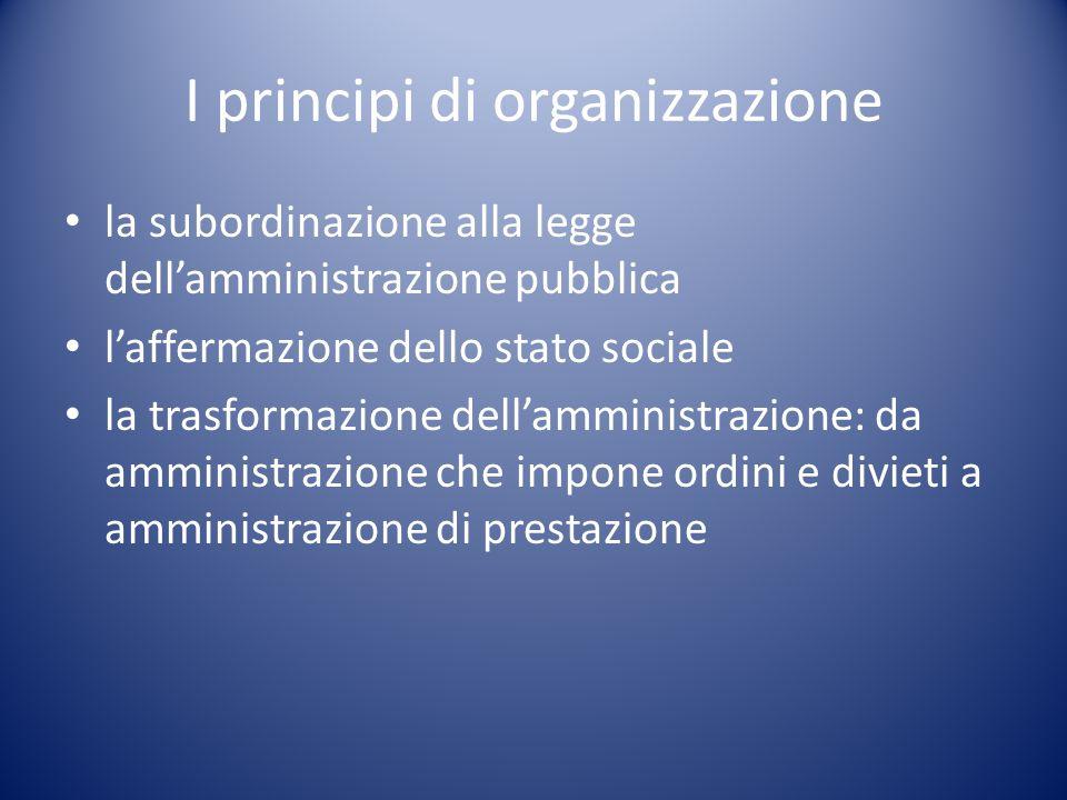 I principi di organizzazione