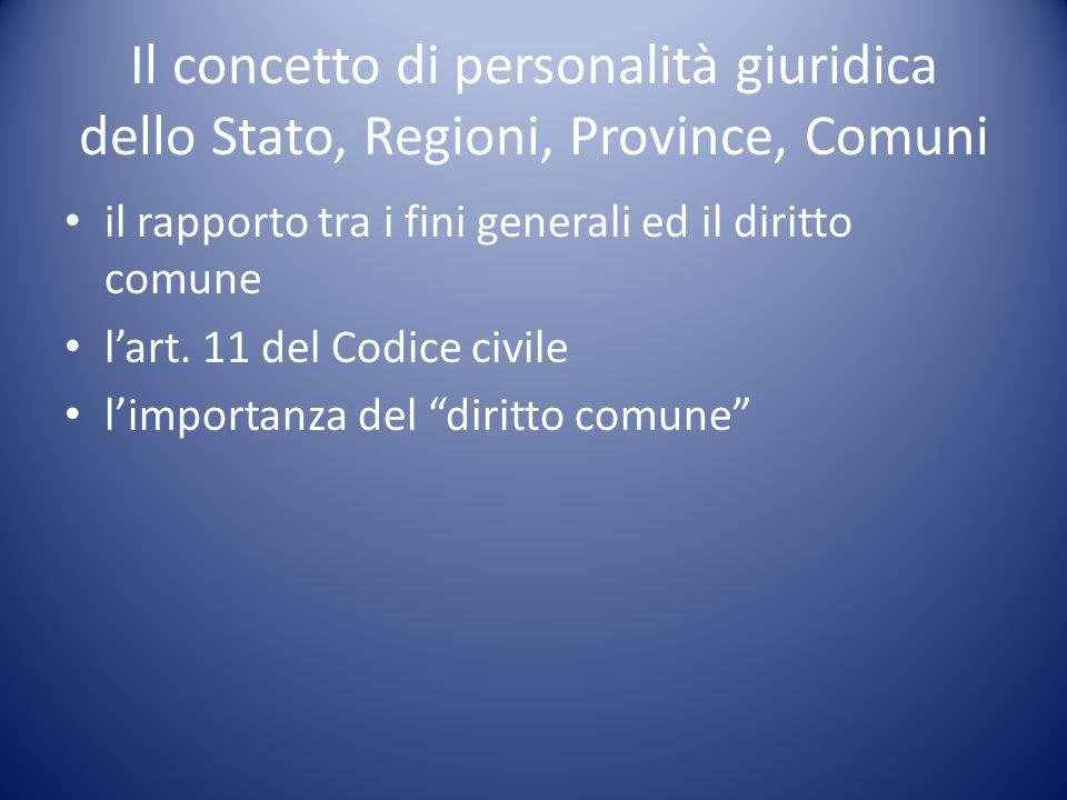 Il concetto di personalità giuridica dello Stato, Regioni, Province, Comuni
