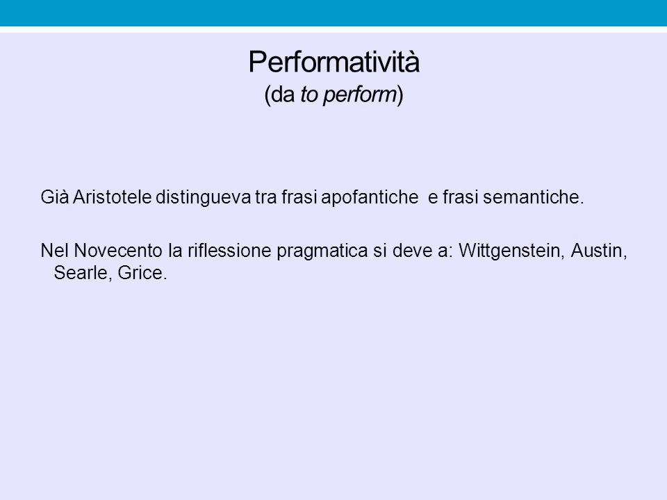 Performatività (da to perform)