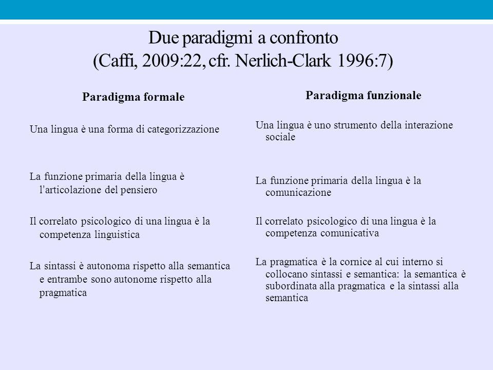Due paradigmi a confronto (Caffi, 2009:22, cfr. Nerlich-Clark 1996:7)