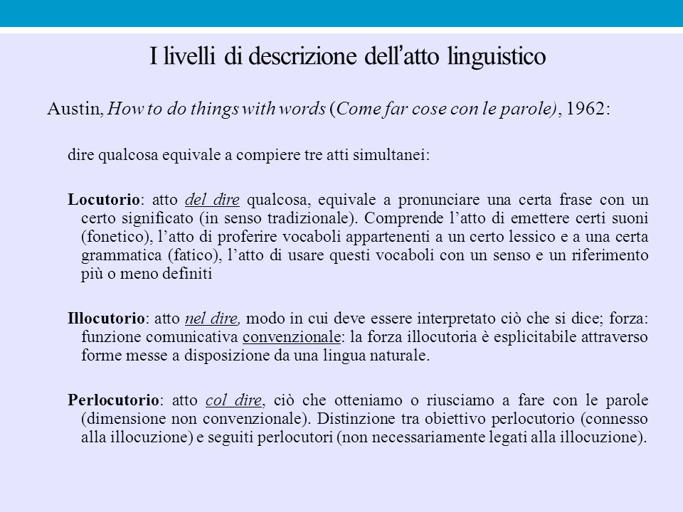 I livelli di descrizione dell'atto linguistico