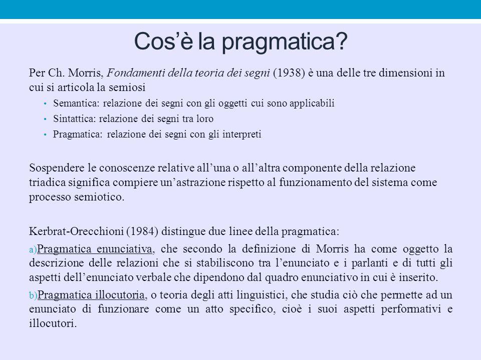 Cos'è la pragmatica Per Ch. Morris, Fondamenti della teoria dei segni (1938) è una delle tre dimensioni in cui si articola la semiosi.