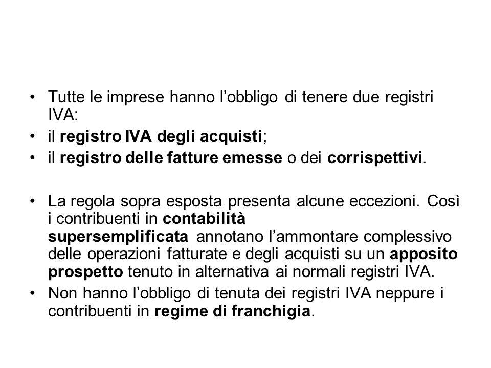 Tutte le imprese hanno l'obbligo di tenere due registri IVA: