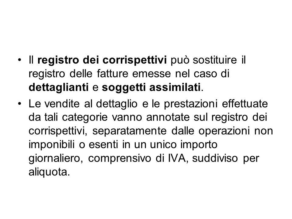 Il registro dei corrispettivi può sostituire il registro delle fatture emesse nel caso di dettaglianti e soggetti assimilati.