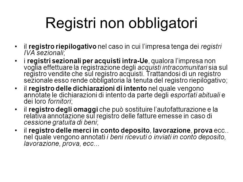 Registri non obbligatori