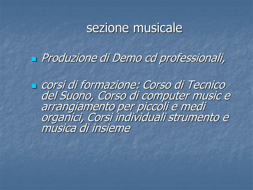 sezione musicale Produzione di Demo cd professionali,