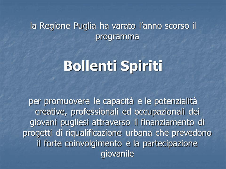 la Regione Puglia ha varato l'anno scorso il programma