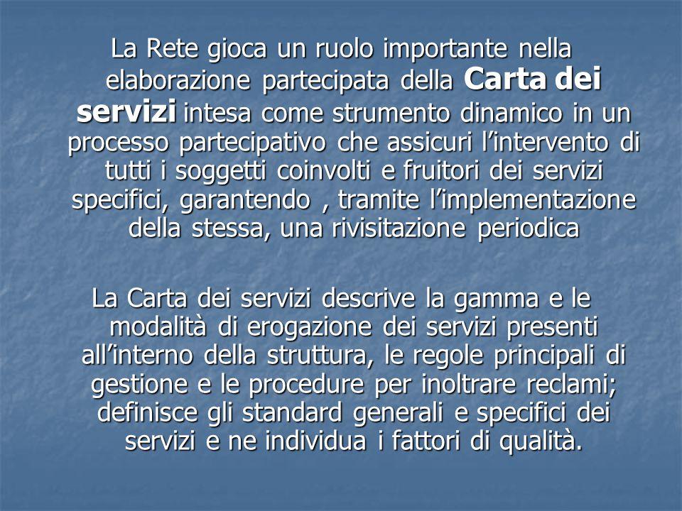 La Rete gioca un ruolo importante nella elaborazione partecipata della Carta dei servizi intesa come strumento dinamico in un processo partecipativo che assicuri l'intervento di tutti i soggetti coinvolti e fruitori dei servizi specifici, garantendo , tramite l'implementazione della stessa, una rivisitazione periodica