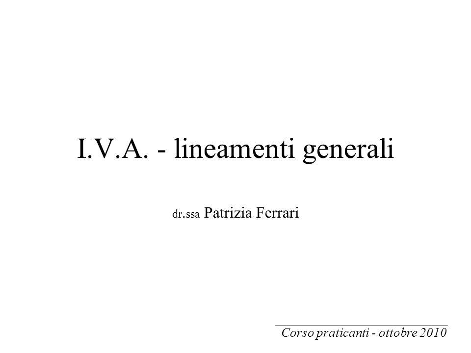 I.V.A. - lineamenti generali