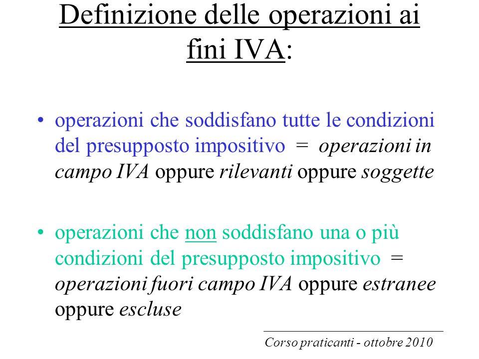 Definizione delle operazioni ai fini IVA:
