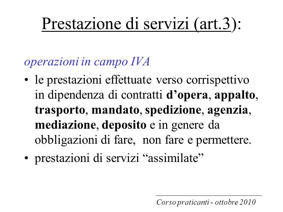 Prestazione di servizi (art.3):