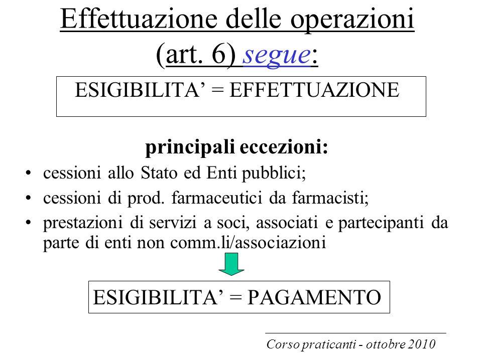 Effettuazione delle operazioni (art. 6) segue: