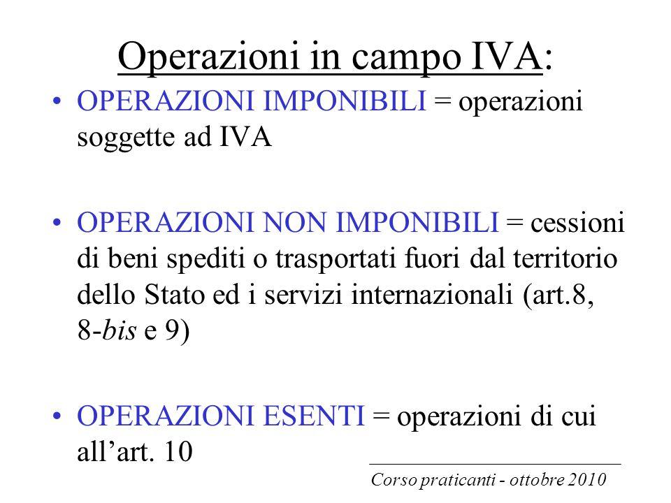 Operazioni in campo IVA: